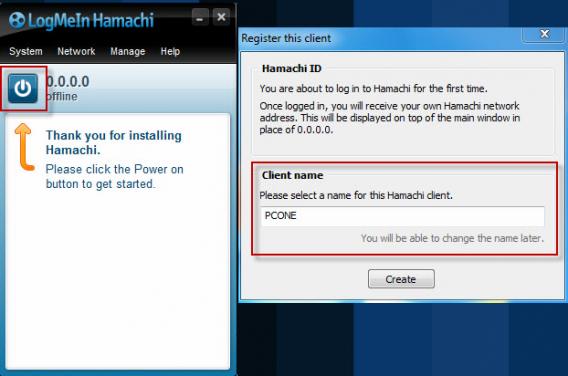 rejestracja klienta hamachi