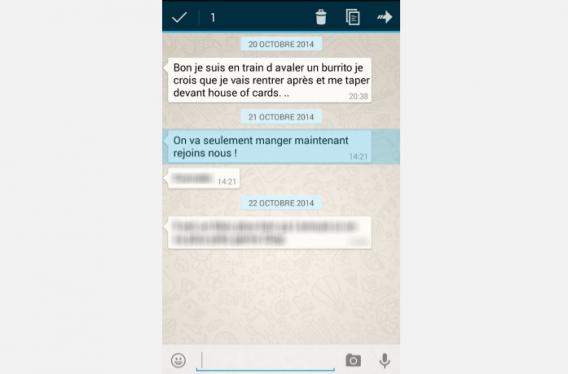 WhatsApp 2-Appuyez sur la bulle à supprimer