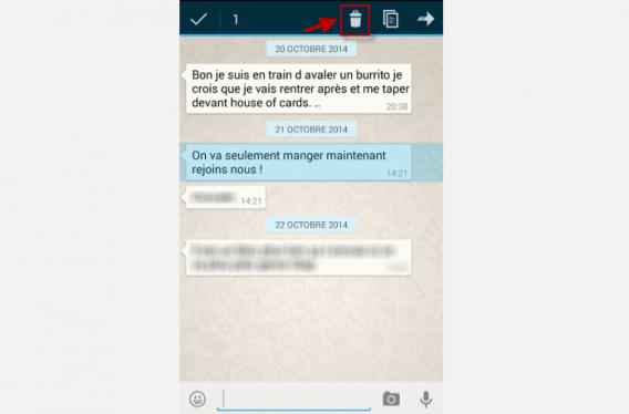 WhatsApp 3-Tapez sur l'icône de la poubelle
