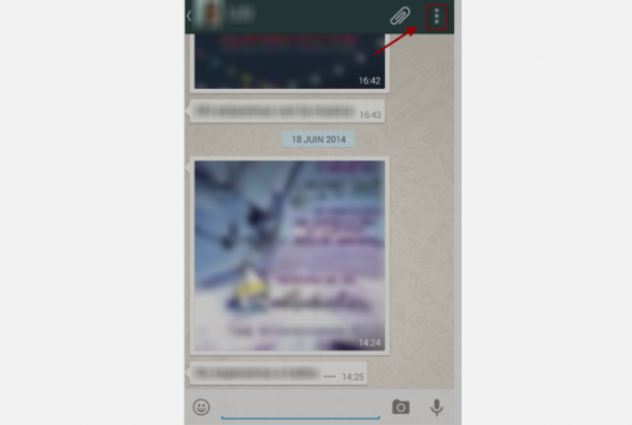 WhatsApp 5-Tapez sur le menu des 3 petits points