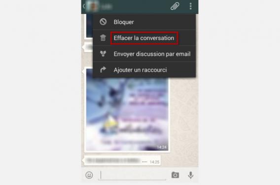 WhatsApp 7-Tapez sur l'option Effacer la conversation
