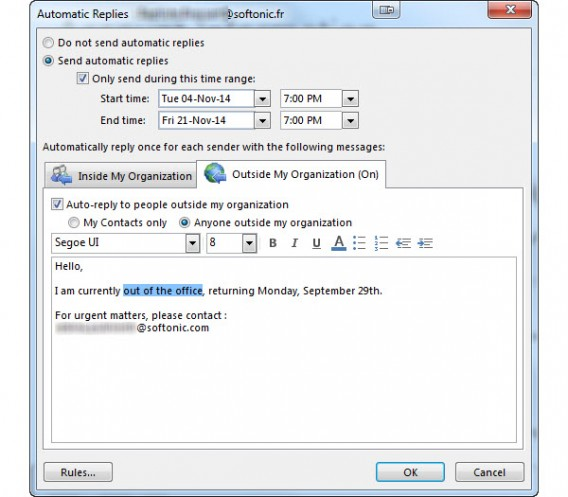 Outlook Automatic replies