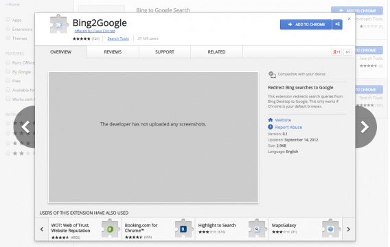 Bing2Google dans la boutique des extensions de Chrome