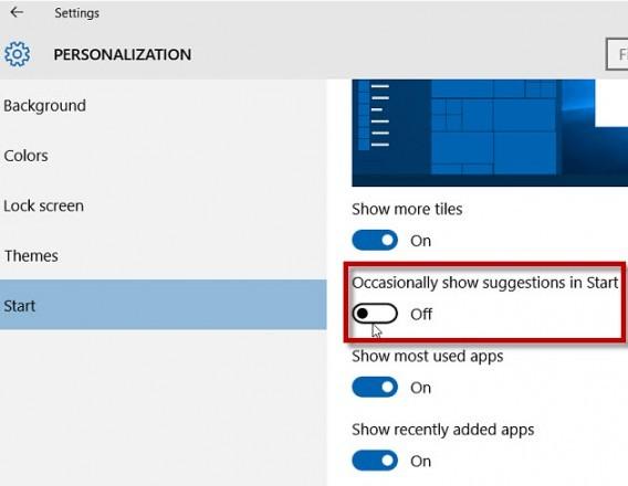wiindows-10-désactiver l'affichage des suggestions dans l'écran d'accueil