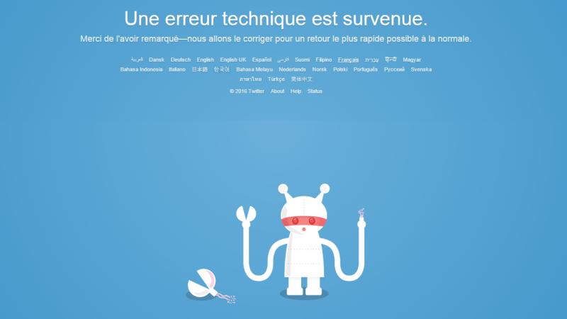 """Twitter en panne: """"Une erreur technique est survenue"""""""