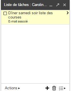 Gmail liste des tâches