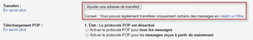 Gmail transfert de courier