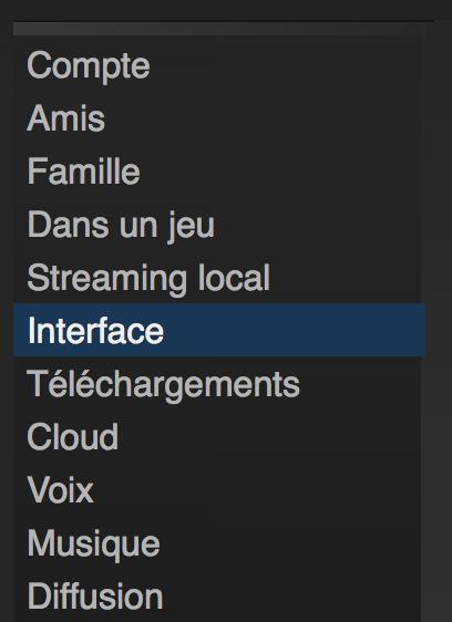 Steam menu interface